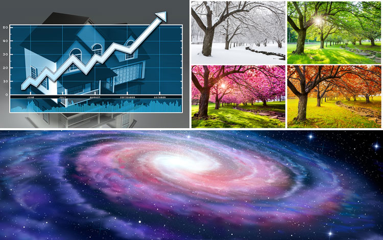 There images of seasons, universe, and housing prices going up