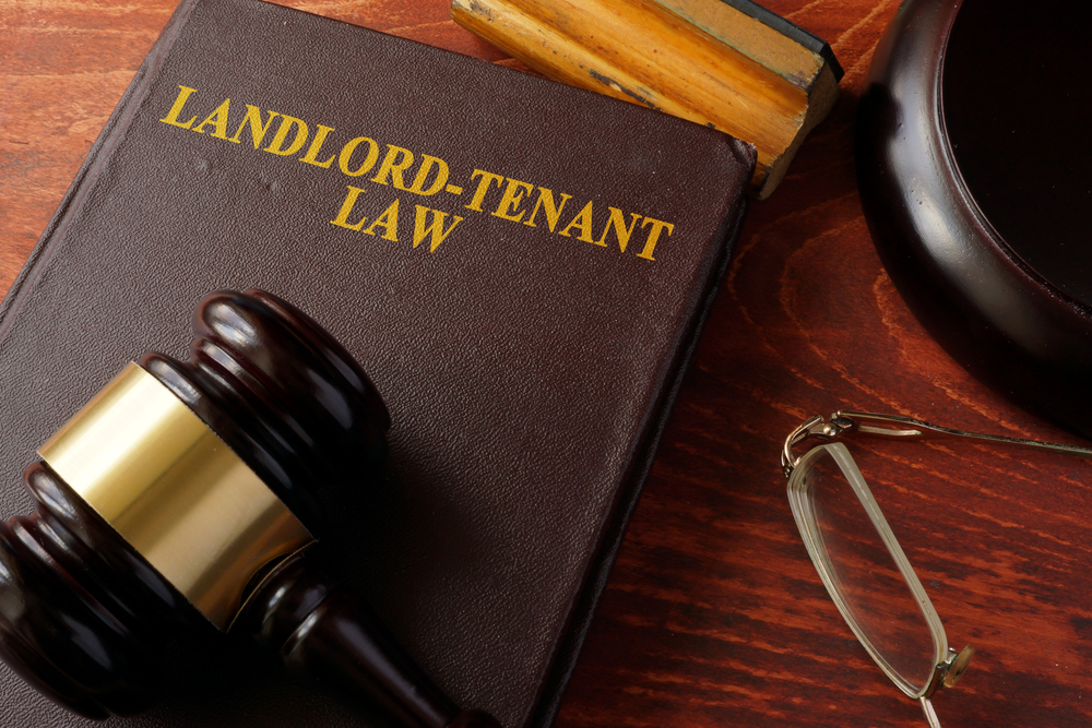Book with title Landlord-Tenant Law and a gavel